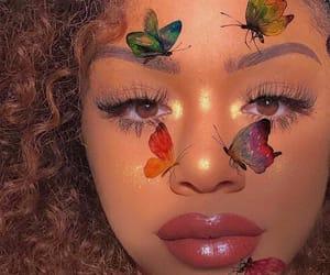 makeup, butterflies, and girl image