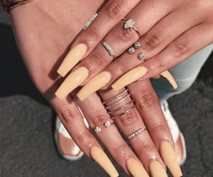 beauty, yellow nails, and girly inspo image