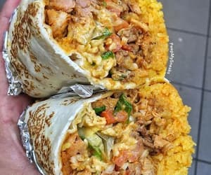 food, burrito, and rice image