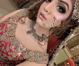 makeup, nose ring, and wedding image