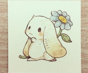 art, bunny, and flower image