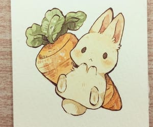 art, bunny, and carrot image
