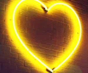 yellow, heart, and neon image