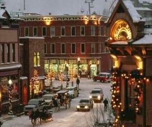 christmas, night, and snow image