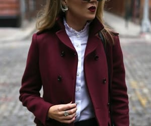 coat, fashion, and hairstyle image