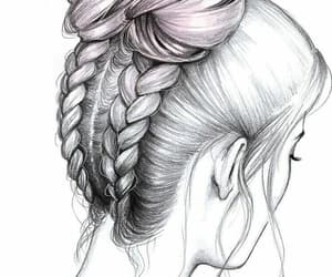 drawing, braid, and hair image
