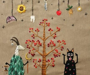 art, embroidery, and goat image