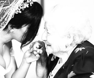 black and white, happy, and bride image