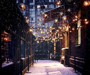 snow, christmas, and lights image