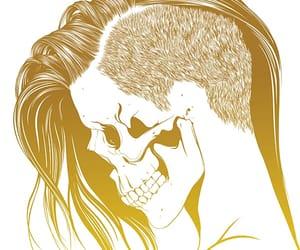 skull, art, and hair image