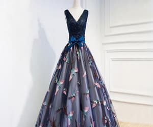 long prom dress, prom dress blue, and navy prom dress image