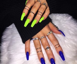 blue, rings, and light green image