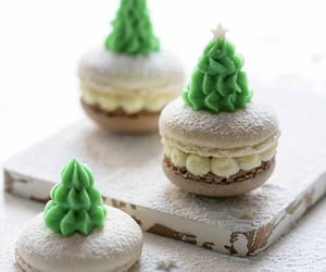 cream, ‎macarons, and tree image