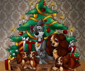 disney, lady and the tramp, and merry christmas image