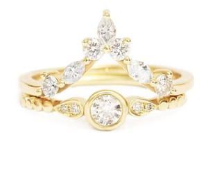 etsy, bridal rings set, and gold diamond ring image