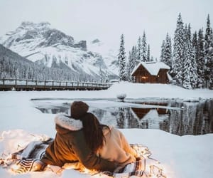 winter, snow, and couple image