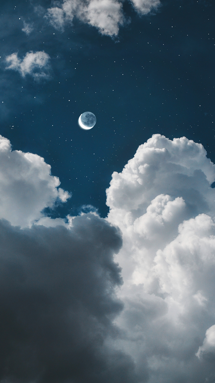 clouds, moon, and stars image