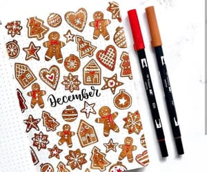 december, drawing, and gingerbread image