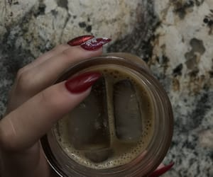 iced coffee, red nails, and snow flakes image