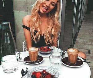girl, food, and coffee image