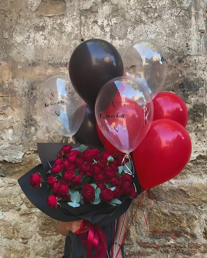 картинка букет роз и много воздушных шариков где