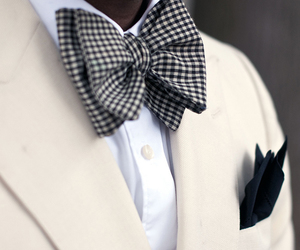 style, suit, and bow tie image