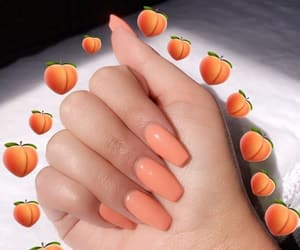 nails, peach, and nail art image