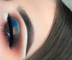 makeup, blue, and orange image