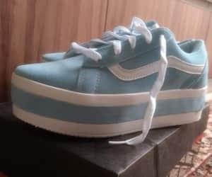blue, sneakers, and vans image