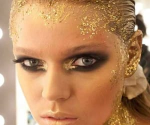 smoky eyes, Gold Leaf, and gold sprinkled hair image