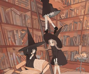 witch, art, and books image
