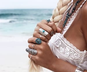 hair, rings, and summer image