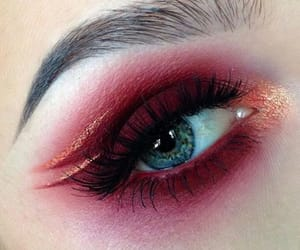 eye, makeup, and red image