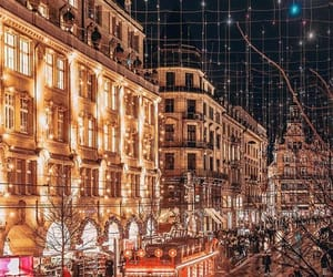 city, lights, and winter image