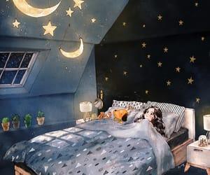 stars, art, and night image
