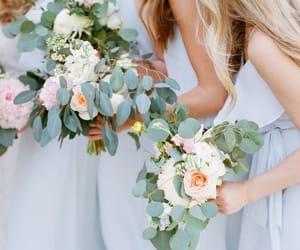 bouquet, eucalyptus, and bridesmaids image