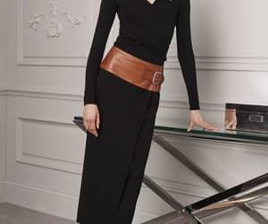 black on black, midi dress, and high heels image