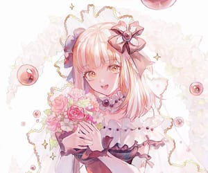 anime, blonde hair, and flowers image