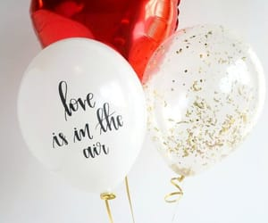 balloons, couple, and heart image