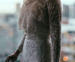 lace, wedding, and dress image