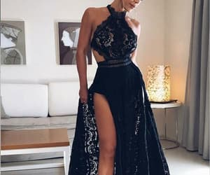 a-line prom dresses, black lace prom dresses, and open back prom dresses image