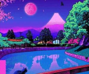 art, cat, and purple image