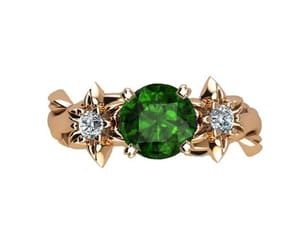 diamond ring, emerald ring, and celtic jewelry image