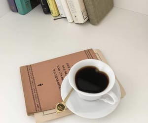 aesthetic, black coffee, and book image