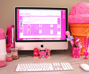 pink, apple, and computer image