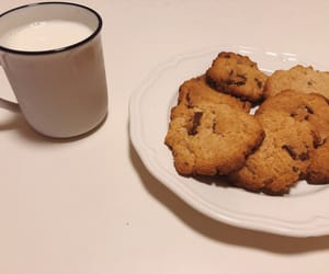 chocolate, cookie, and milk image
