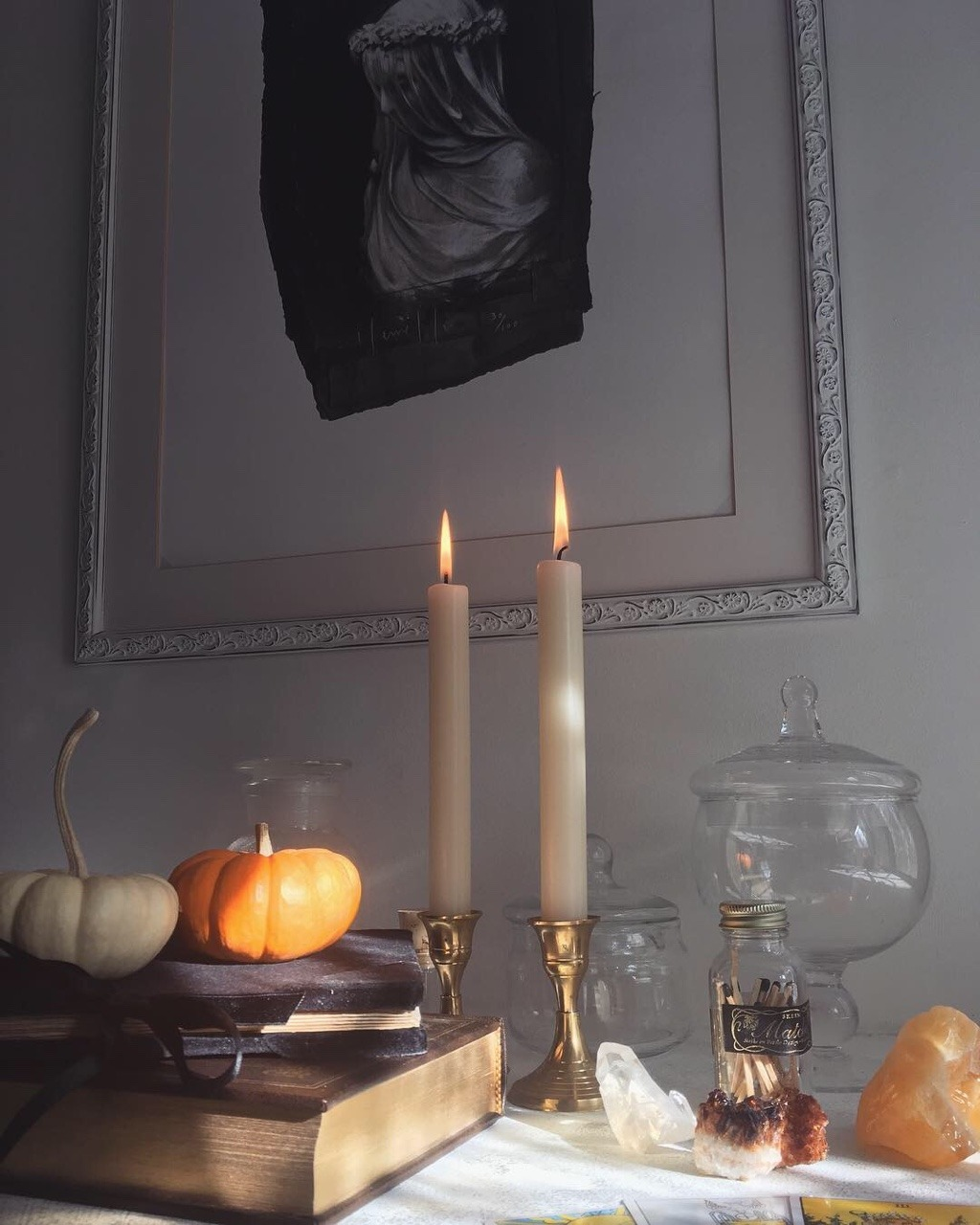 autumn, candles, and crystals image