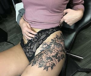 flower, ink, and thigh image