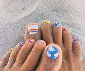 blue, nails, and smiley face image