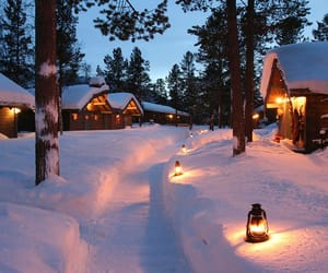chalet, christmas, and evening image